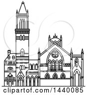 Clipart Of A Black And White Line Drawing Of The Old South Church Royalty Free Vector Illustration