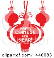 Clipart Of A Happy Chinese New Year Design With Lanterns Royalty Free Vector Illustration