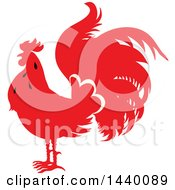 Clipart Of A Silhouetted Red Rooster Royalty Free Vector Illustration by Seamartini Graphics