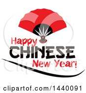 Clipart Of A Happy Chinese New Year Design With A Hand Fan Royalty Free Vector Illustration