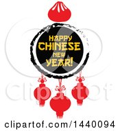 Clipart Of A Happy Chinese New Year Design With A Dumpling And Lanterns Royalty Free Vector Illustration