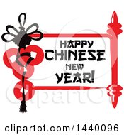 Clipart Of A Happy Chinese New Year Design With Ingots And A Scroll Royalty Free Vector Illustration