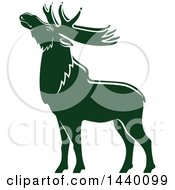 Clipart Of A Green Elk In Profile Royalty Free Vector Illustration by Vector Tradition SM