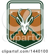 Clipart Of A Green Gazelle Or Saiga Antelope Head Over Crossed Smoking Hunting Rifles In A Shield Royalty Free Vector Illustration by Vector Tradition SM