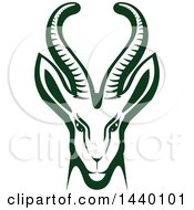 Clipart Of A Green Gazelle Or Saiga Antelope Head Royalty Free Vector Illustration