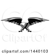 Clipart Of A Black And White Bald Eagle Royalty Free Vector Illustration