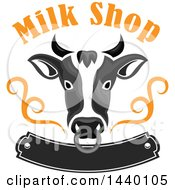 Clipart Of A Grayscale Cow Head With A Nose Ring Milk Shop Text And Banner Royalty Free Vector Illustration