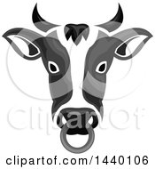 Clipart Of A Grayscale Cow Head With A Nose Ring Royalty Free Vector Illustration