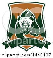 Clipart Of A White And Green Running Angry Grizzly Bear In A Shield Royalty Free Vector Illustration by Vector Tradition SM