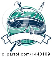 Catfish Over A Circle With A Hook And Fishing Pole Over A Banner