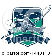 Clipart Of A Carp Fish Over A Shield With A Fishing Pole And Banner Royalty Free Vector Illustration