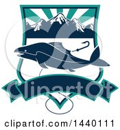 Clipart Of A Fish Over A Shield With A Fishing Hook And Banner Royalty Free Vector Illustration