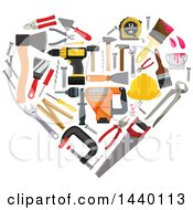 Clipart Of A Heart Made Of Carpentry Tools Royalty Free Vector Illustration