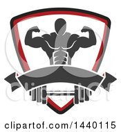Clipart Of A Silhouetted Flexing Male Bodybuilder In A Shield Over A Banner And Barbell Royalty Free Vector Illustration by Vector Tradition SM