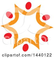 Clipart Of A Teamwork Unity Star Of Red And Orange People Royalty Free Vector Illustration