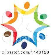 Clipart Of A Teamwork Unity Star Of Colorful Diverse People Royalty Free Vector Illustration
