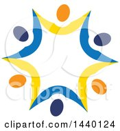 Clipart Of A Teamwork Unity Star Of Blue Yellow And Orange People Royalty Free Vector Illustration