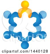 Clipart Of A Teamwork Unity Circle People Royalty Free Vector Illustration
