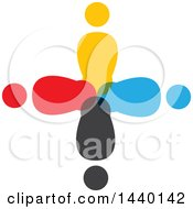 Clipart Of A Teamwork Unity Cross Of Colorful Diverse People Royalty Free Vector Illustration