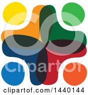Clipart Of A Teamwork Unity Group Of Colorful Diverse People Royalty Free Vector Illustration