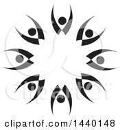 Clipart Of A Teamwork Unity Circle Of Black And White People Royalty Free Vector Illustration