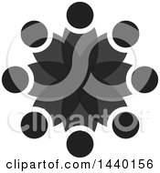 Clipart Of A Teamwork Unity Circle Of Dark Gray People Royalty Free Vector Illustration