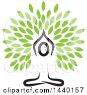 Clipart Of A Meditating Person In A Yoga Pose With Leaves Royalty Free Vector Illustration by ColorMagic