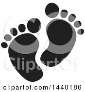 Clipart Of A Black And White Pair Of Footprints Royalty Free Vector Illustration by ColorMagic