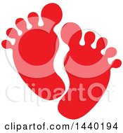 Clipart Of A Pair Of Red Footprints Royalty Free Vector Illustration by ColorMagic