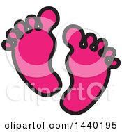 Clipart Of A Pair Of Pink Footprints Royalty Free Vector Illustration by ColorMagic