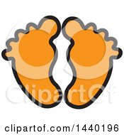 Clipart Of A Pair Of Orange Footprints Royalty Free Vector Illustration by ColorMagic