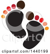 Clipart Of A Colorful Pair Of Footprints Royalty Free Vector Illustration by ColorMagic