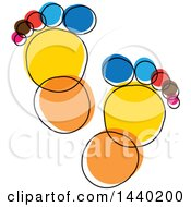 Clipart Of A Colorful Sketched Pair Of Footprints Royalty Free Vector Illustration by ColorMagic
