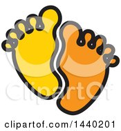 Clipart Of A Pair Of Yellow And Orange Footprints Royalty Free Vector Illustration by ColorMagic