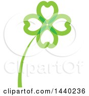 Clipart Of A Green St Patricks Day Four Leaf Shamrock Clover Leaf And Stalk Royalty Free Vector Illustration by ColorMagic