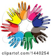 Clipart Of A Sketched Circle Of Colorful Hands Royalty Free Vector Illustration