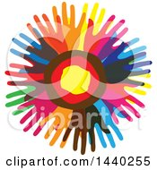 Clipart Of A Circle Of Colorful Hands Royalty Free Vector Illustration by ColorMagic