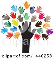 Clipart Of A Tree Of Hands With Colorful Leaves Royalty Free Vector Illustration