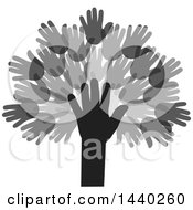 Clipart Of A Tree Of Hands Royalty Free Vector Illustration