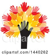 Clipart Of A Tree Of Hands With Autumn Leaves Royalty Free Vector Illustration