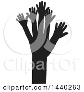 Clipart Of A Black And White Tree Of Hands Royalty Free Vector Illustration