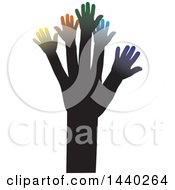 Clipart Of A Tree Of Hands With Colorful Branches Royalty Free Vector Illustration