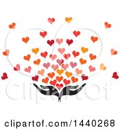 Poster, Art Print Of Pair Of Nurturing Hands With Love Hearts