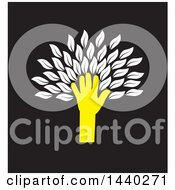 Clipart Of A Yellow Hand Forming The Trunk Of A Tree With White Leaves On Black Royalty Free Vector Illustration