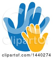 Clipart Of Yellow And Blue Hands Royalty Free Vector Illustration by ColorMagic