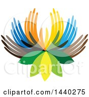 Clipart Of A Lotus Flower With Colorful Hand Petals Royalty Free Vector Illustration