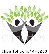 Clipart Of A Couple Forming The Trunk Of A Tree With Green Leaves Royalty Free Vector Illustration