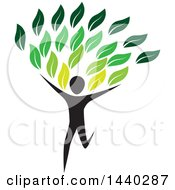 Clipart Of A Running Person With Green Leaves Royalty Free Vector Illustration