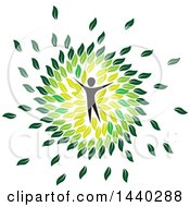 Clipart Of A Person In A Circle Of Green Leaves Royalty Free Vector Illustration