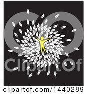 Yellow Person In A Circle Of White Leaves On Black